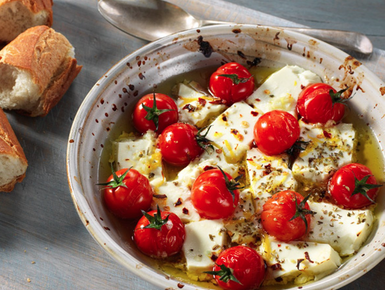 Baked feta with tomato and oregano