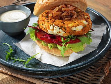 Feta and chickpea burger